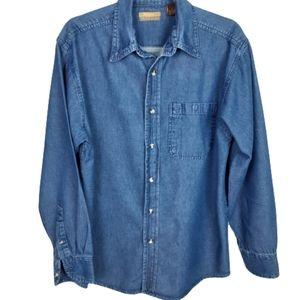 R & R Outdoors  med. wash blue denim top, …